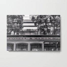 San Francisco Cable Car Black and White Metal Print