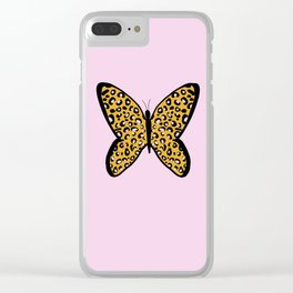 Pink Cheetah Leopard Print Butterfly Clear iPhone Case