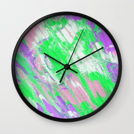 Fluid Acrylic Painting Multi Color Glitch Wave Effect Pink Purple Neon Green Wall Clock