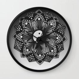 Yin and Yang Mandala (Black & White) Wall Clock