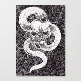 Skull Wyrm Black And White Art Print Canvas Print