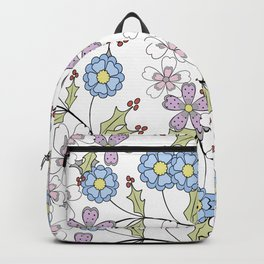 Cute floral pattern on a white background Backpack