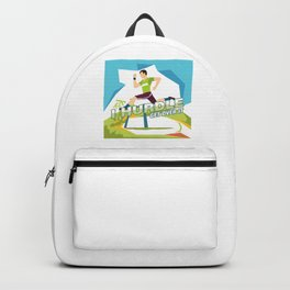 Track And Field Gymnast Runner Running Hurdling I Hurdle Get Over It Gift Backpack