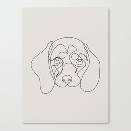 One Line Dachshund Canvas Print