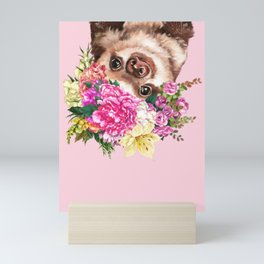 Flower Crown Baby Sloth in Pink Mini Art Print