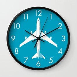 747-400 Jumbo Jet Airliner Aircraft - Cyan Wall Clock