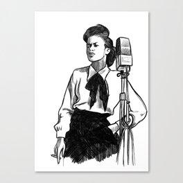 Sarah Vaughan - American jazz icon - Pencil illustration portrait Canvas Print