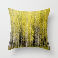 Lovely spring atmosphere - vibrant green leaves on the trees - beautiful birch grove Throw Pillow