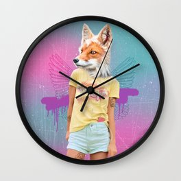 Roller Fox Girl Pepe Psyche Wall Clock