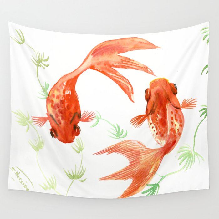 Koi Fish Feng Shui Goldfish Art Two Wall Tapestry