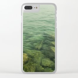Rock, stones, pebbles photographed under the water surface Clear iPhone Case