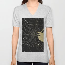 Dublin Ireland Black on Gold Street Map Unisex V-Neck