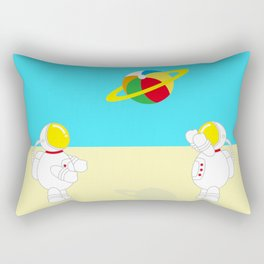 Space Odyssey | Astronaut Beach | Beach Ball | Summer | Sea | Seaside | Ocean | pulp of wood Rectangular Pillow