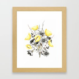 Poppies And Chicory Wildflower Bouquet Framed Art Print