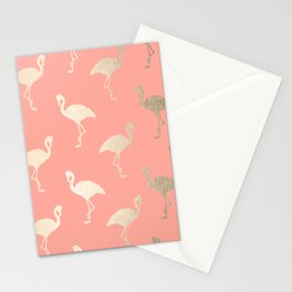 Gold Flamingo Pattern Coral Pink Stationery Cards
