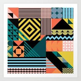 Colorful geometric patchwork pattern Art Print