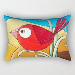 Little Red Bird  Rectangular Pillow