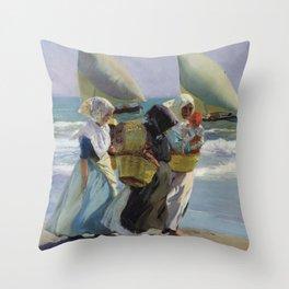 The Three Sails - Joaquin Sorolla Throw Pillow