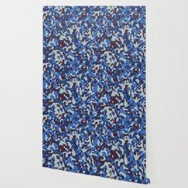 Blue & Burgandy Camo Pattern Wallpaper