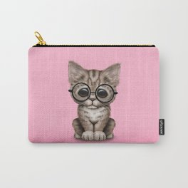 Cute Brown Tabby Kitten Wearing Eye Glasses on Pink Carry-All Pouch