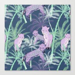 Mauve blue aqua lavender tropical palm tree cheetah Canvas Print