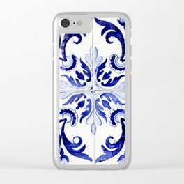 Azulejo V - Portuguese hand painted tiles Clear iPhone Case