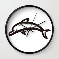 calligraphy Wall Clocks featuring Dolphin calligraphy by FACTORIE