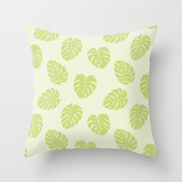 Monstera trendy - green Throw Pillow