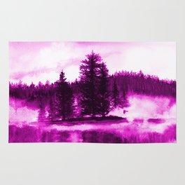Lilac Misty lake watercolor landscape Rug