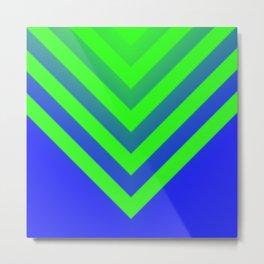 Blue & Green Chevron Metal Print