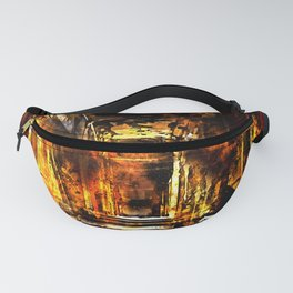 lost place dark hallway splatter watercolor Fanny Pack