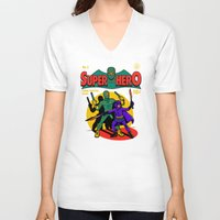 superhero V-neck T-shirts featuring Superhero Comic by harebrained