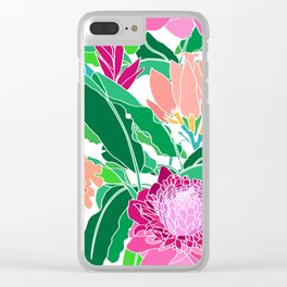 Bird of Paradise + Ginger Tropical Floral in White Clear iPhone Case