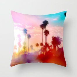 palm tree with sunset sky and light bokeh abstract background Throw Pillow