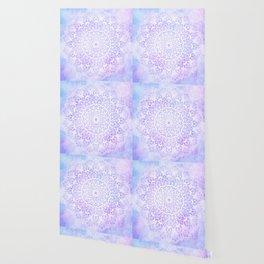 White Mandala on Pastel Blue and Purple Textured Background Wallpaper
