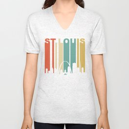 Retro 1970's St. Louis Missouri Downtown Skyline Unisex V-Neck