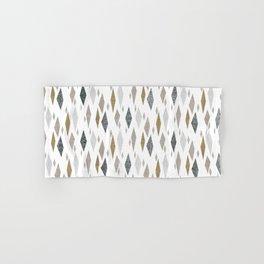 Danish Diamond Mid-Century Geometric Print Tan Hand & Bath Towel