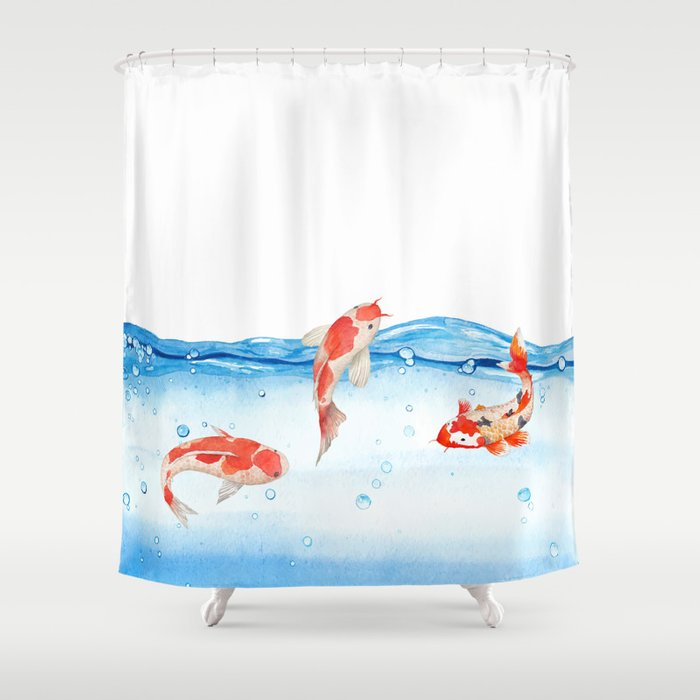 Happy koi fish fishes sea water lake shower curtain by for Koi fish bathroom decorations