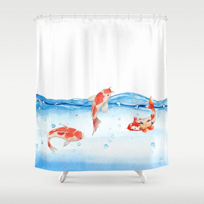Happy Koi Fish Fishes Sea Water Lake Shower Curtain