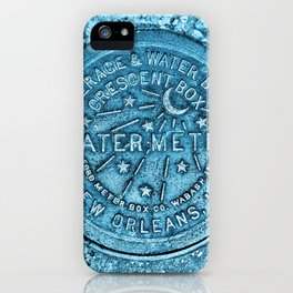 New Orleans Water Meter Louisiana Crescent City NOLA Water Board Metalwork Blue iPhone Case
