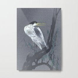 Heron Sitting on a Willow Tree Branch - Vintage Japanese Woodblock Print Art Metal Print