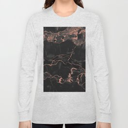 Black Marble and Rose Gold Long Sleeve T-shirt