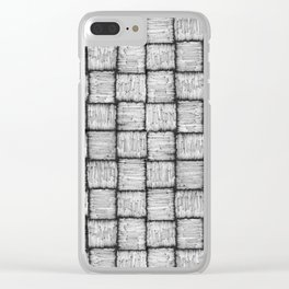 Wicker texture pattern in black and white Clear iPhone Case
