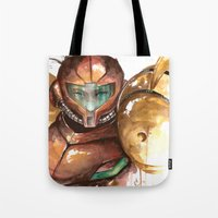 samus Tote Bags featuring Samus by Alonzo Canto