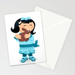 Nibbling Easter Girl Stationery Cards