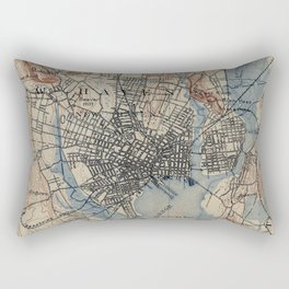 Vintage Map of New Haven Connecticut (1890) Rectangular Pillow