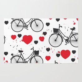seamless pattern black bike and red heart on white background. Vector illustration Rug