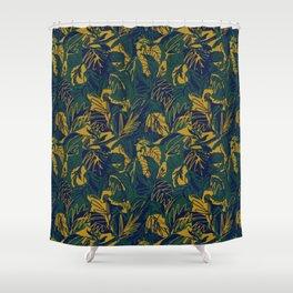 Mustard Navy Jungle Shower Curtain