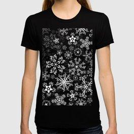 Symbols in Snowflakes on Black T-shirt