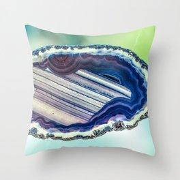 Blue purple geode Throw Pillow